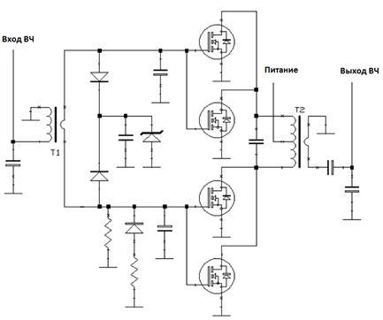В схеме применены транзисторы